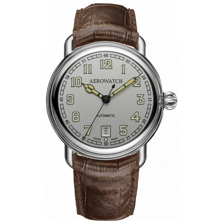 Aerowatch 1942 Silber mit Lederband braun