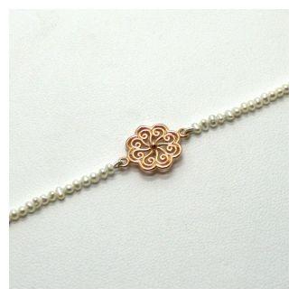 Perlenzauber Perlenbracelet Blume rosé
